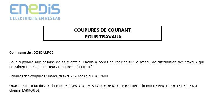 coupure 28 avril